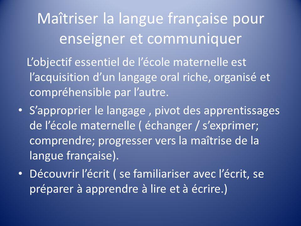 Maîtriser la langue française pour enseigner et communiquer