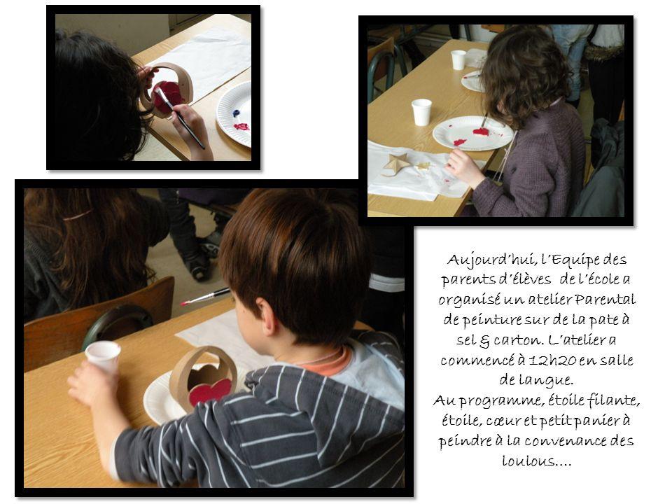 Aujourd'hui, l'Equipe des parents d'élèves de l'école a organisé un atelier Parental de peinture sur de la pate à sel & carton. L'atelier a commencé à 12h20 en salle de langue.