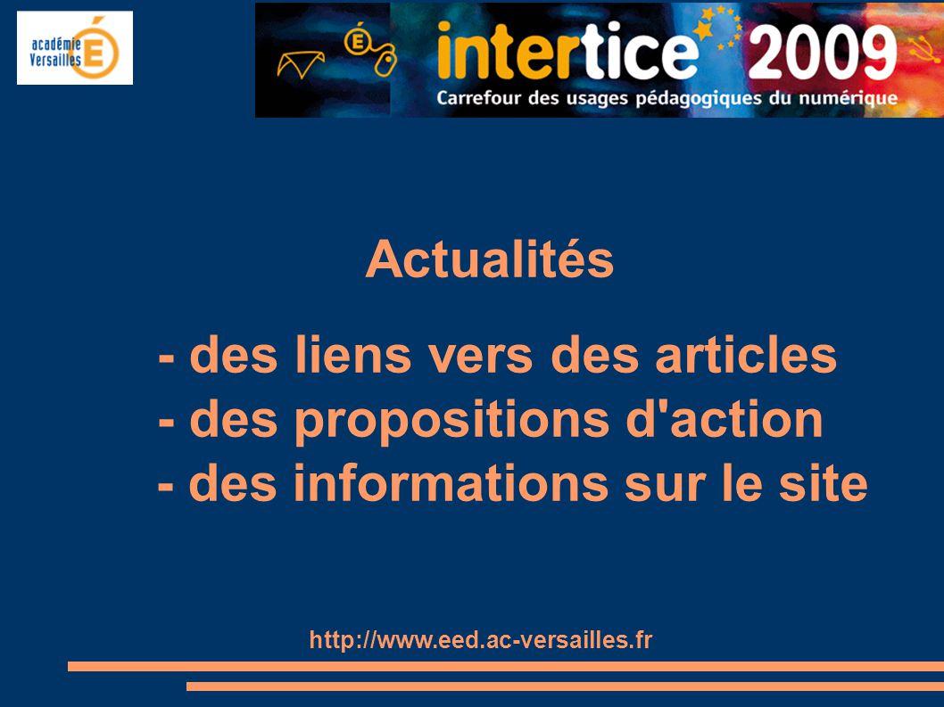 - des liens vers des articles - des propositions d action