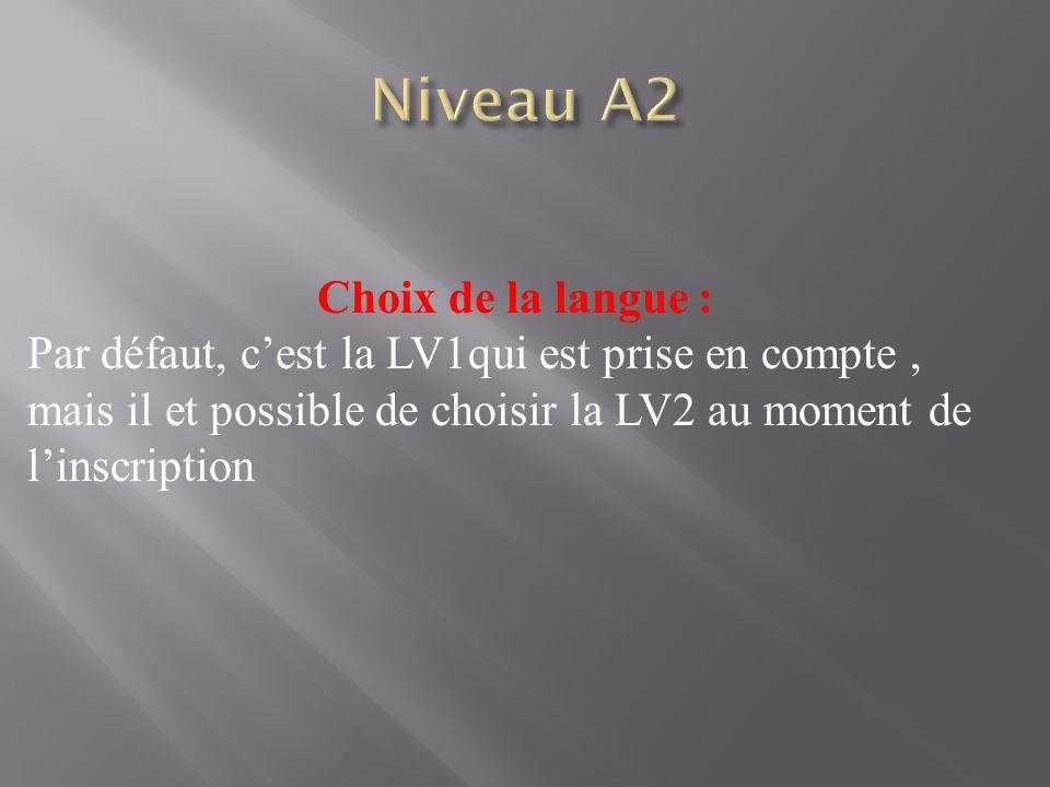 Niveau A2 Choix de la langue :