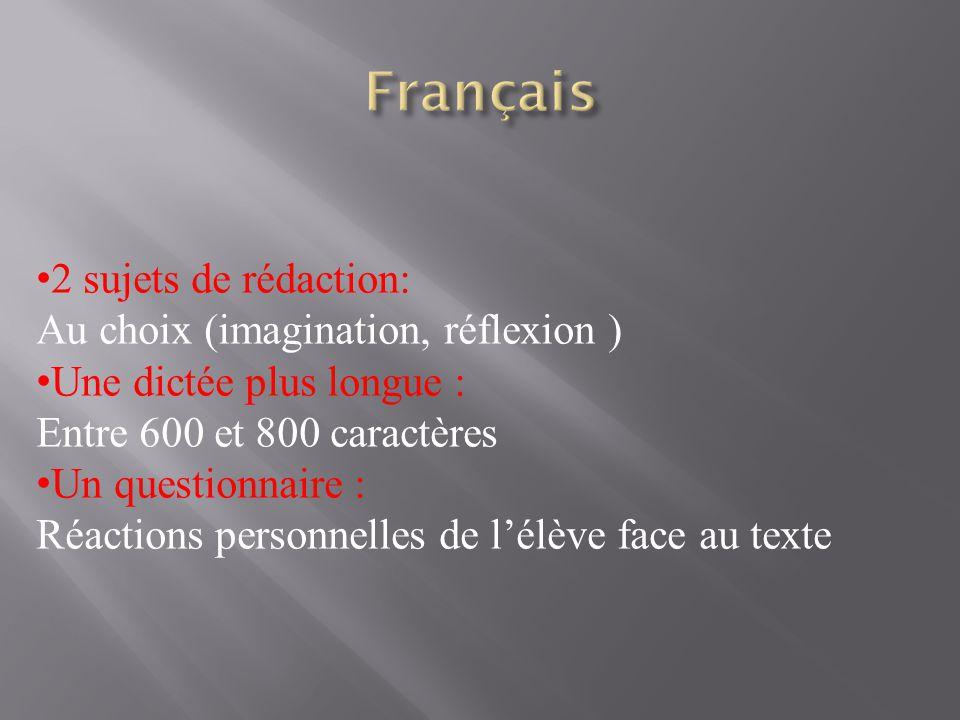 Français 2 sujets de rédaction: Au choix (imagination, réflexion )