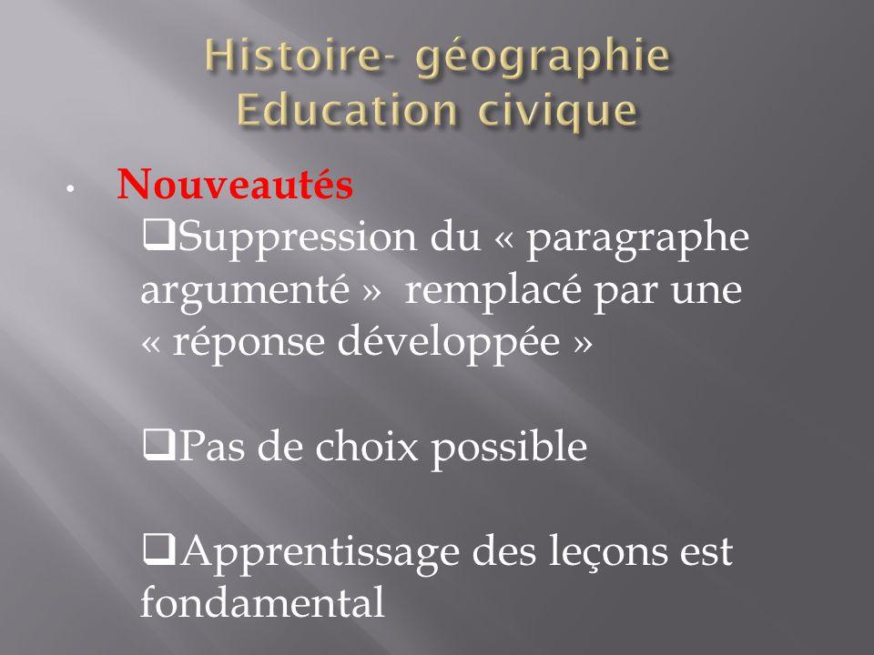Histoire- géographie Education civique