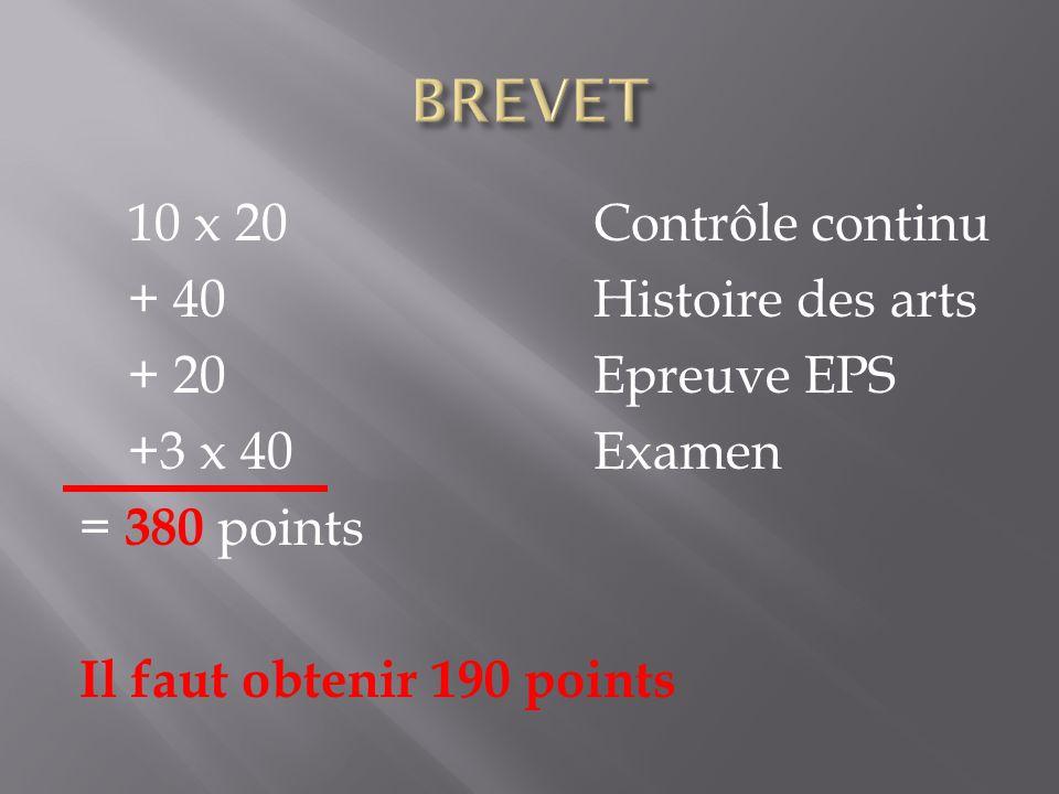 BREVET 10 x 20 Contrôle continu + 40 Histoire des arts + 20 Epreuve EPS +3 x 40 Examen = 380 points Il faut obtenir 190 points