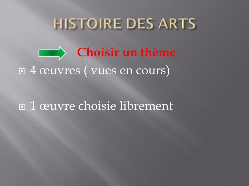 HISTOIRE DES ARTS Choisir un thème 4 œuvres ( vues en cours)