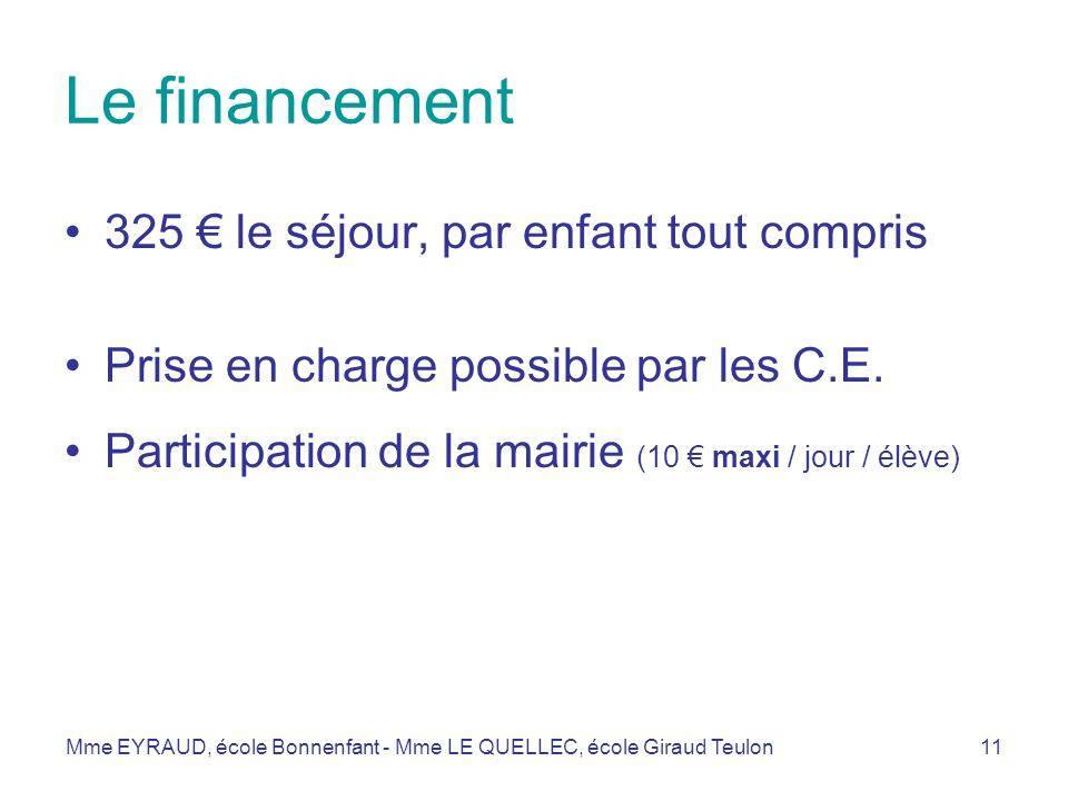 Le financement 325 € le séjour, par enfant tout compris