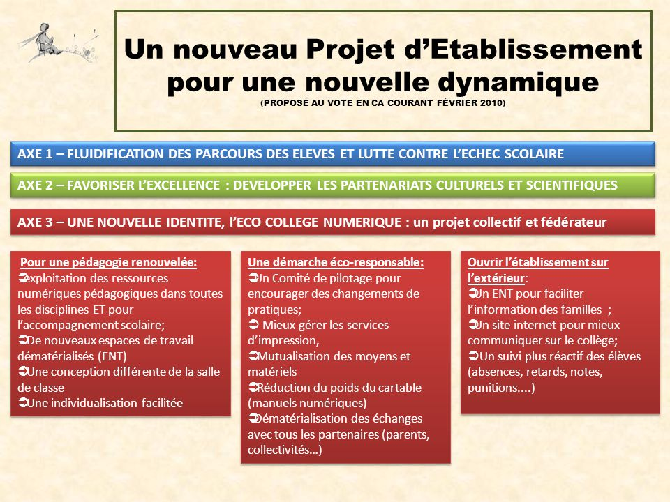 Un nouveau Projet d'Etablissement pour une nouvelle dynamique (PROPOSÉ AU VOTE EN CA COURANT FÉVRIER 2010)