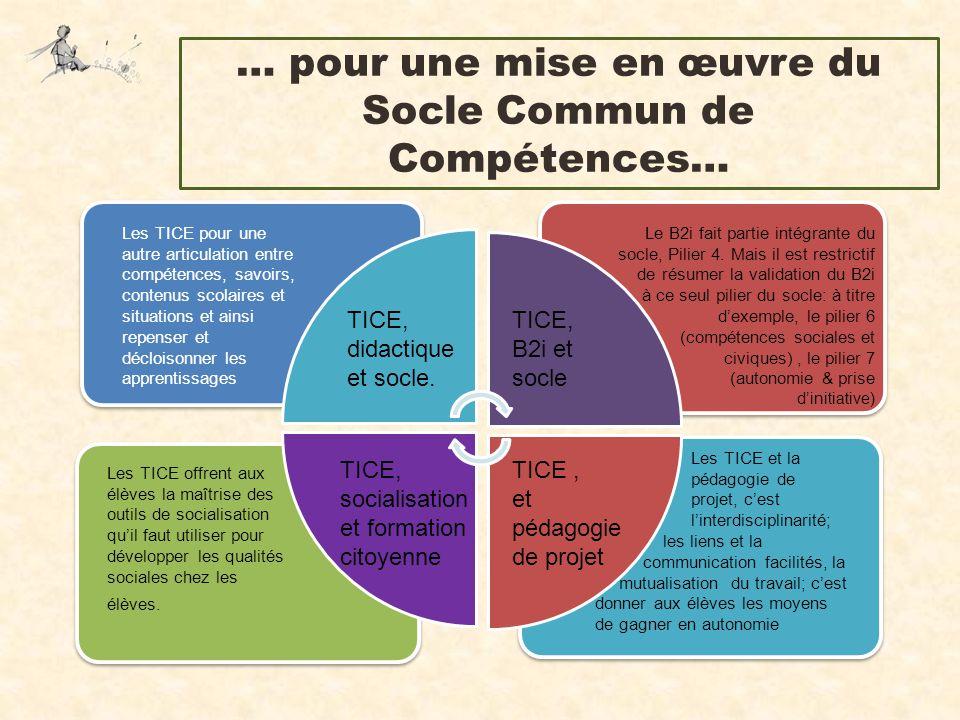 … pour une mise en œuvre du Socle Commun de Compétences…