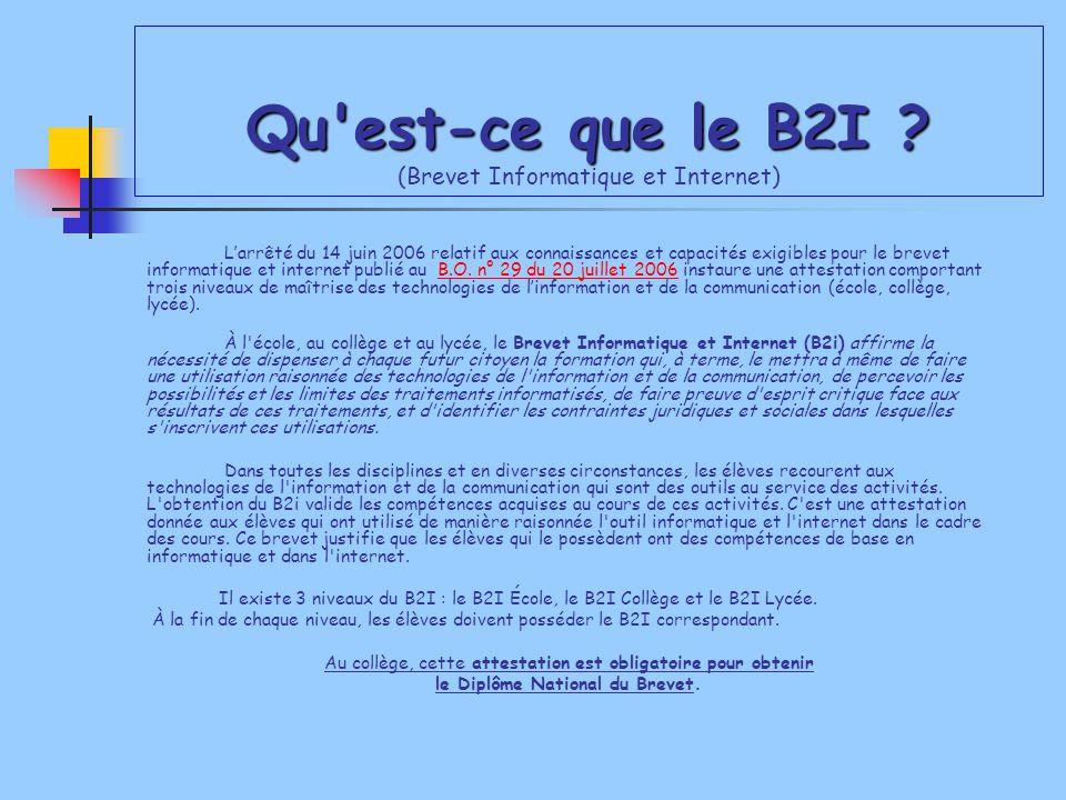 qu u0026 39 est-ce que le b2i    brevet informatique et internet