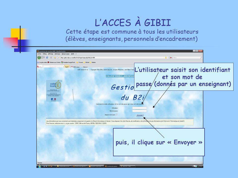 L'ACCES À GIBII Cette étape est commune à tous les utilisateurs (élèves, enseignants, personnels d'encadrement)