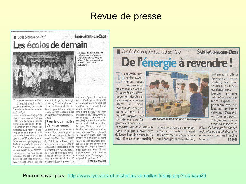 Revue de presse Pour en savoir plus : http://www.lyc-vinci-st-michel.ac-versailles.fr/spip.php rubrique23.