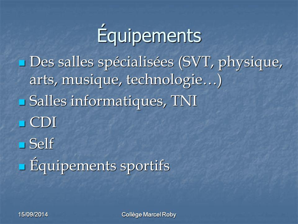 Équipements Des salles spécialisées (SVT, physique, arts, musique, technologie…) Salles informatiques, TNI.
