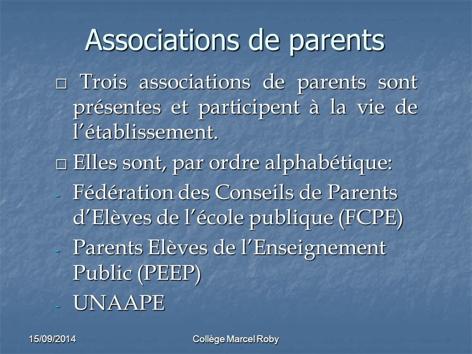 Associations de parents