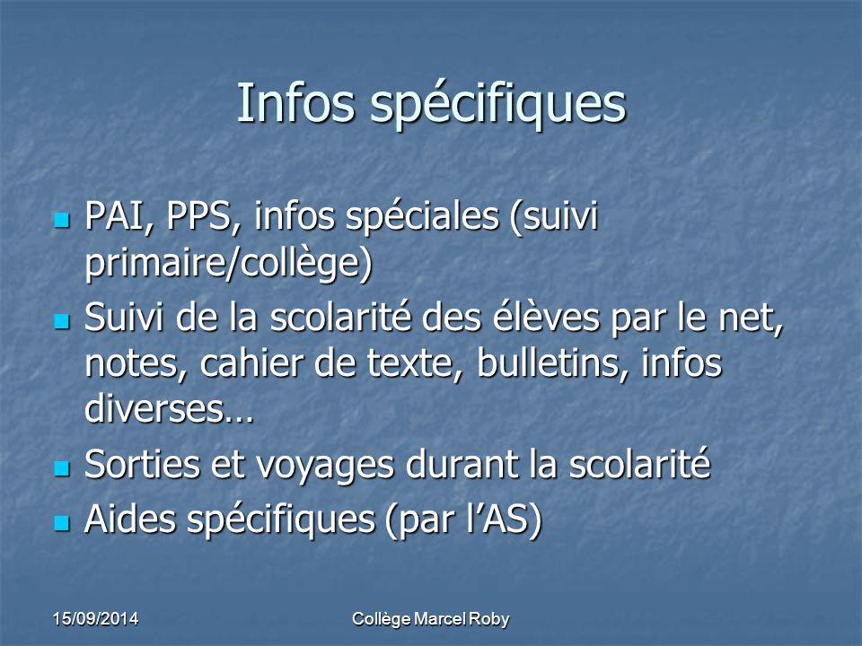 Infos spécifiques PAI, PPS, infos spéciales (suivi primaire/collège)
