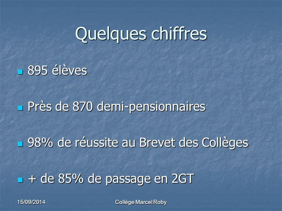 Quelques chiffres 895 élèves Près de 870 demi-pensionnaires