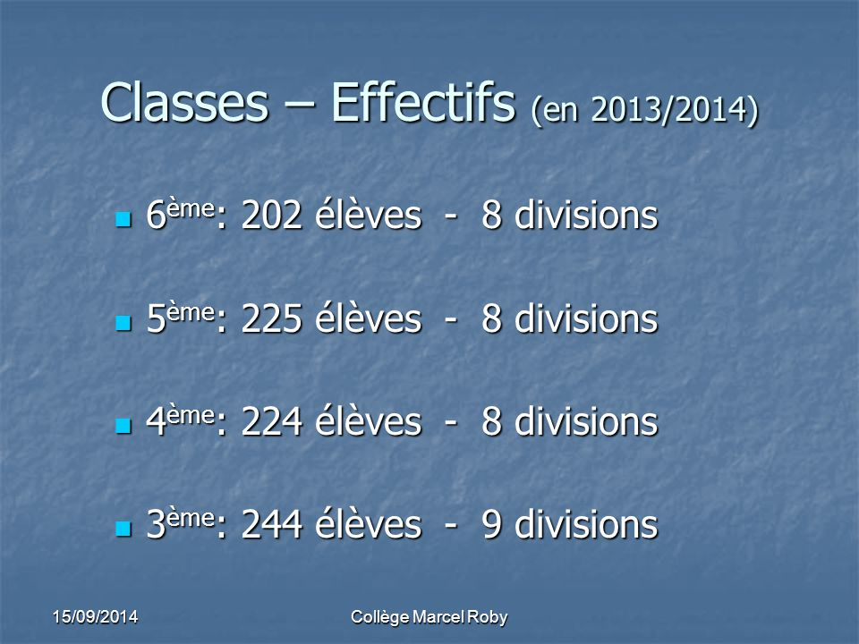 Classes – Effectifs (en 2013/2014)