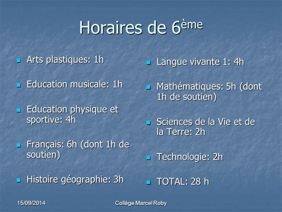 Horaires de 6ème Arts plastiques: 1h Langue vivante 1: 4h