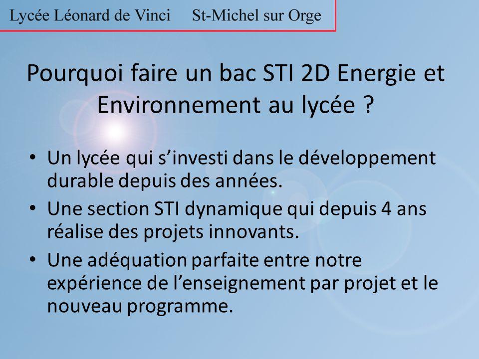 Pourquoi faire un bac STI 2D Energie et Environnement au lycée