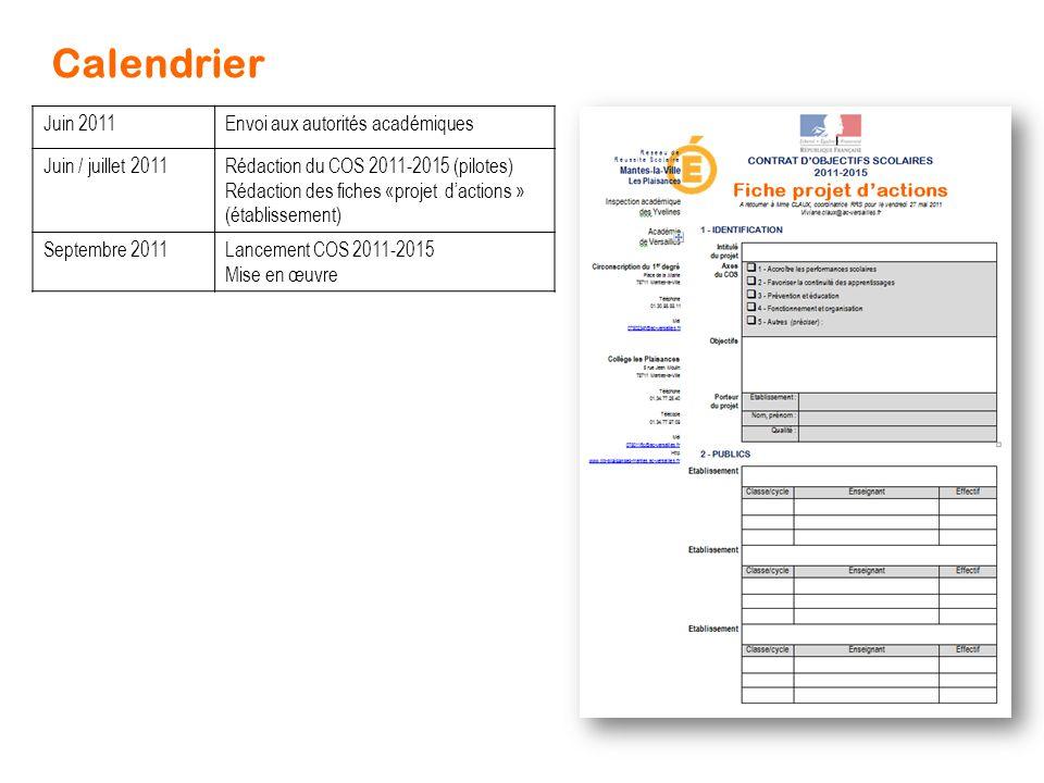 Calendrier Juin 2011 Envoi aux autorités académiques