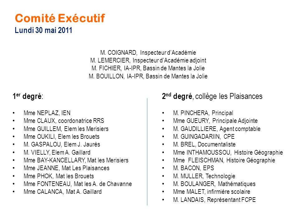 Comité Exécutif Lundi 30 mai 2011 1er degré: