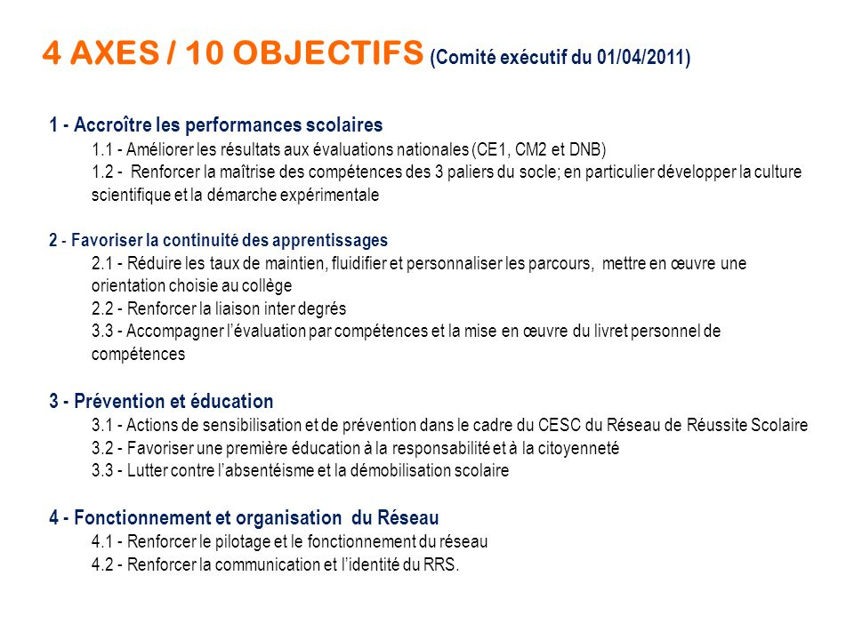 4 AXES / 10 OBJECTIFS (Comité exécutif du 01/04/2011)