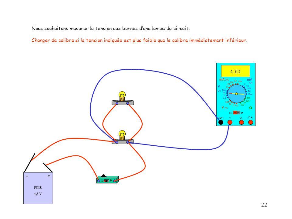 Nous souhaitons mesurer la tension aux bornes d'une lampe du circuit.