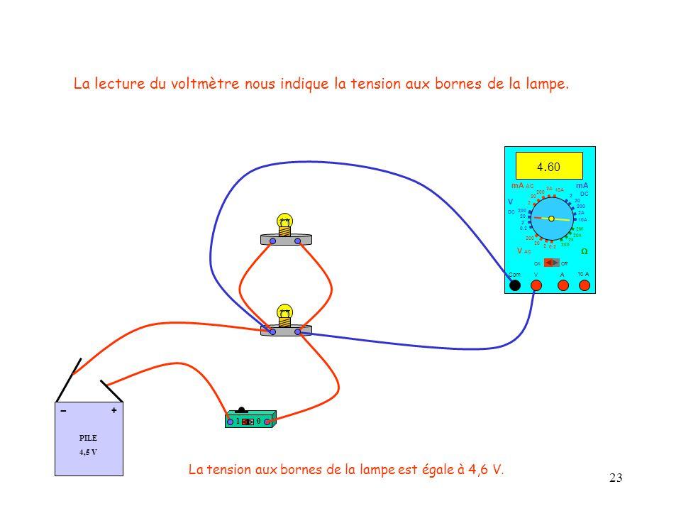 La lecture du voltmètre nous indique la tension aux bornes de la lampe.