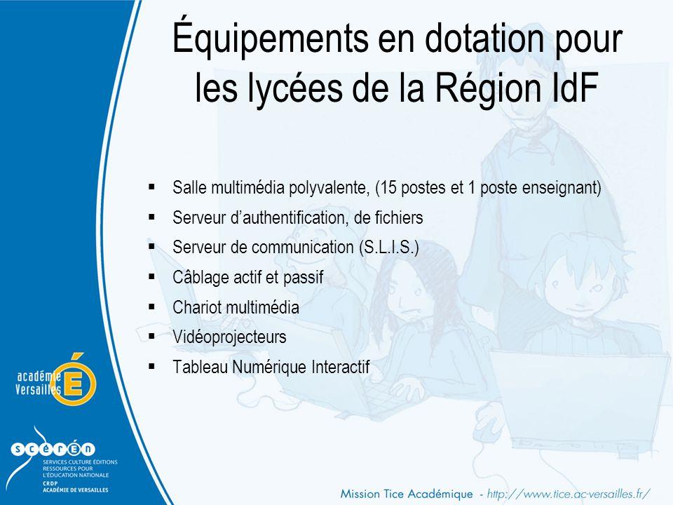 Équipements en dotation pour les lycées de la Région IdF