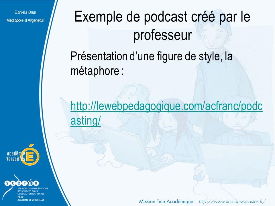 Exemple de podcast créé par le professeur