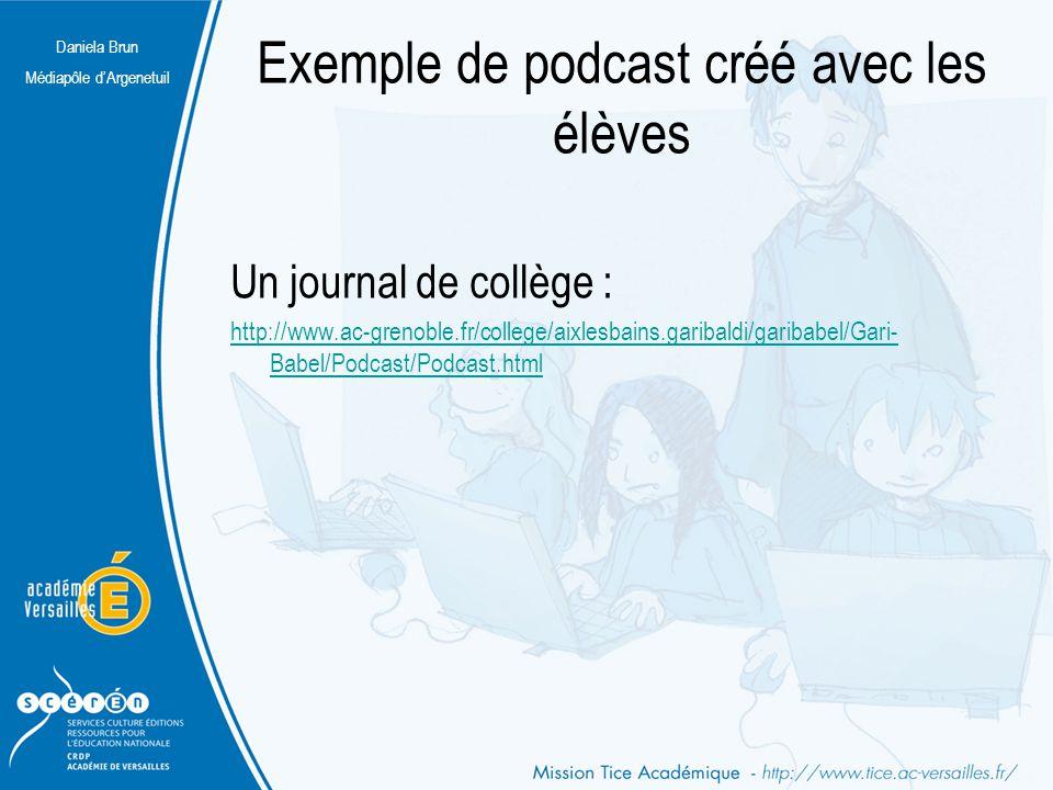 Exemple de podcast créé avec les élèves