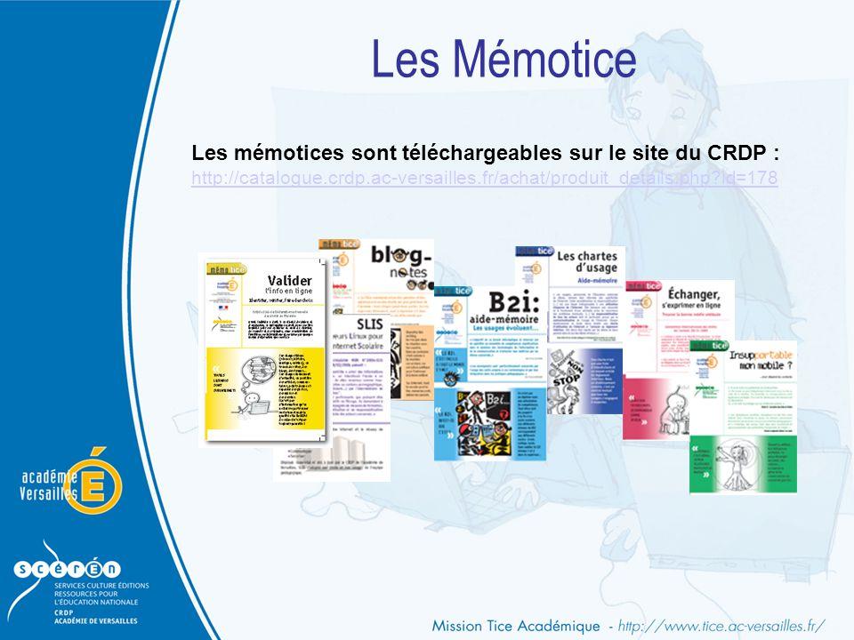 Les Mémotice Les mémotices sont téléchargeables sur le site du CRDP :