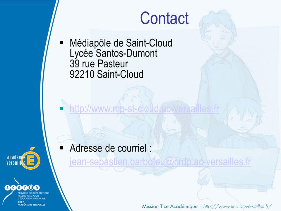 Contact Médiapôle de Saint-Cloud Lycée Santos-Dumont 39 rue Pasteur 92210 Saint-Cloud. http://www.mp-st-cloud.ac-versailles.fr.