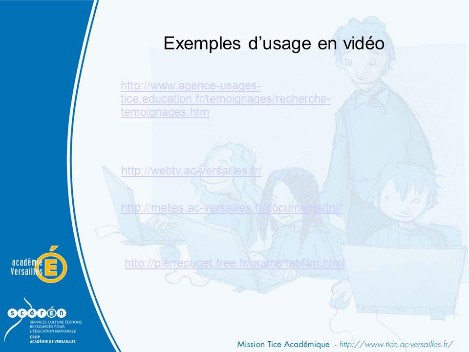 Exemples d'usage en vidéo