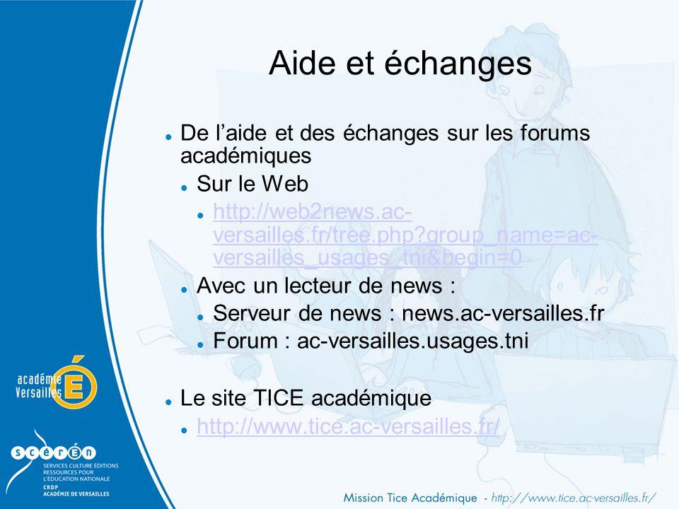 Aide et échanges De l'aide et des échanges sur les forums académiques