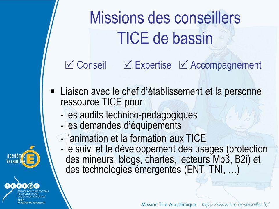 Missions des conseillers TICE de bassin