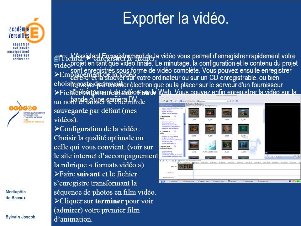 Exporter la vidéo.