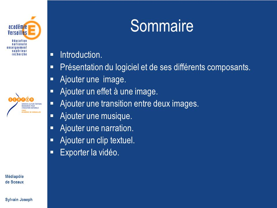 Sommaire Introduction.
