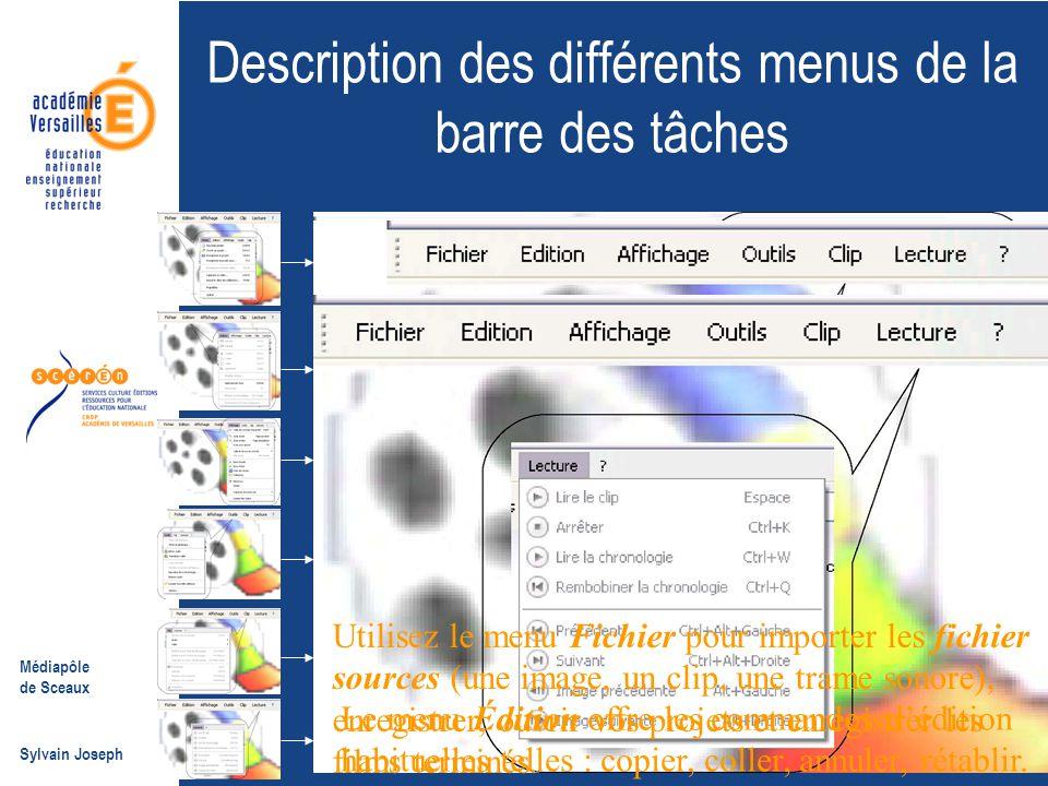 Description des différents menus de la barre des tâches