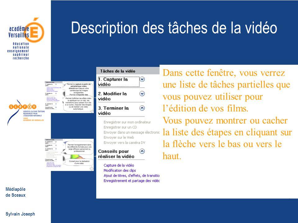 Description des tâches de la vidéo
