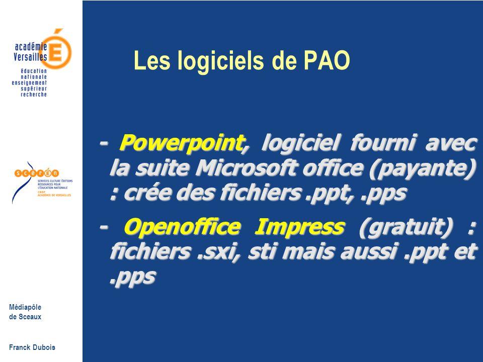 Les logiciels de PAO - Powerpoint, logiciel fourni avec la suite Microsoft office (payante) : crée des fichiers .ppt, .pps.