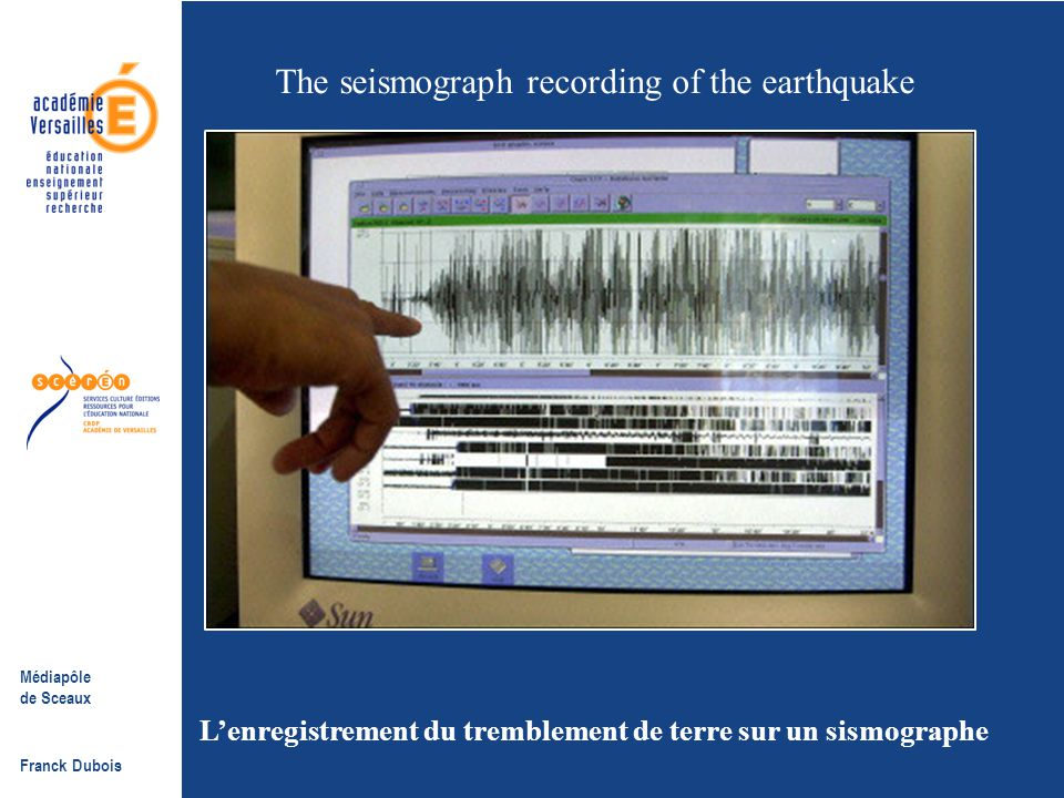 The seismograph recording of the earthquake