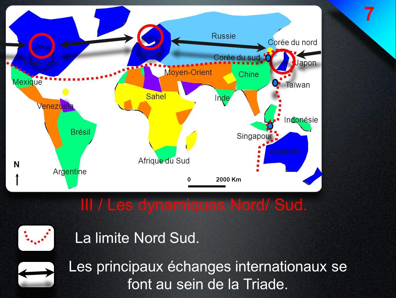 7 III / Les dynamiques Nord/ Sud. La limite Nord Sud.