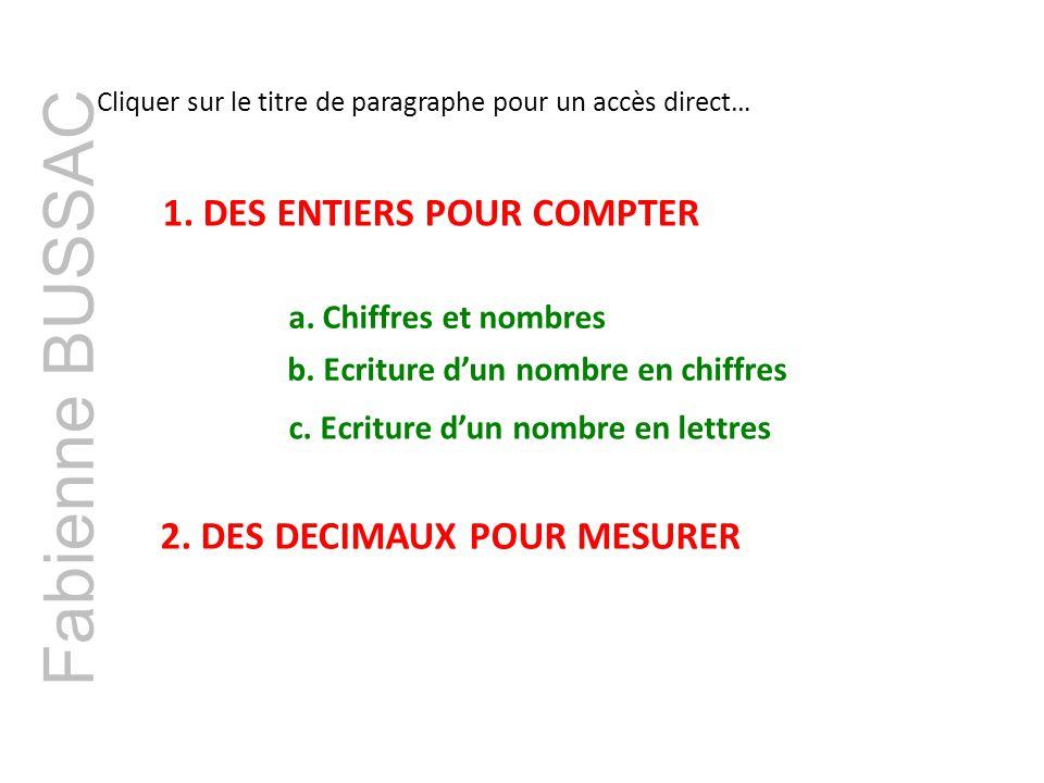 Fabienne BUSSAC 1. DES ENTIERS POUR COMPTER