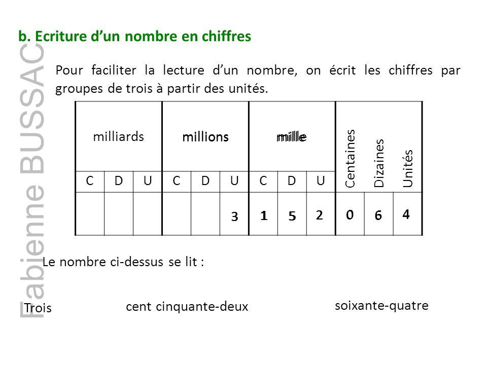 Fabienne BUSSAC b. Ecriture d'un nombre en chiffres