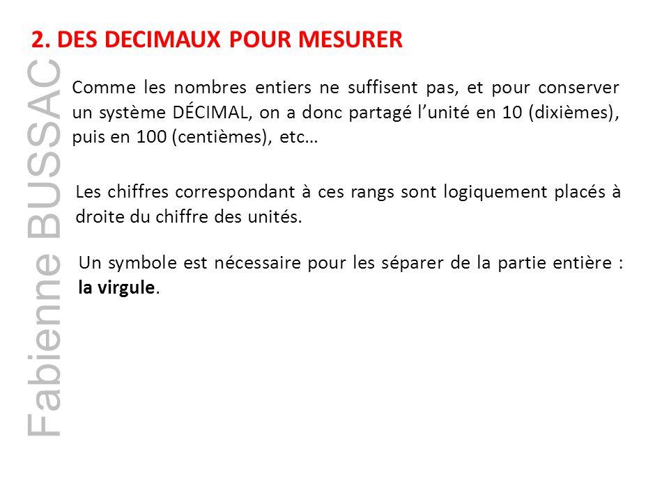 Fabienne BUSSAC 2. DES DECIMAUX POUR MESURER