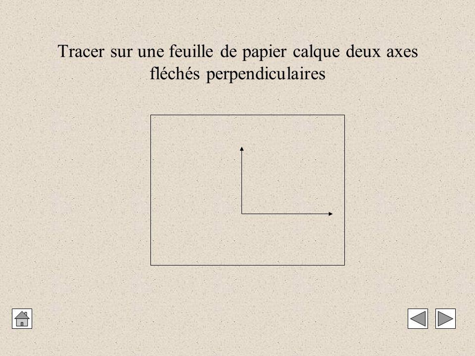 Tracer sur une feuille de papier calque deux axes fléchés perpendiculaires