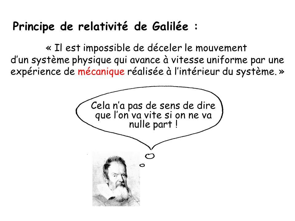 Principe de relativité de Galilée :