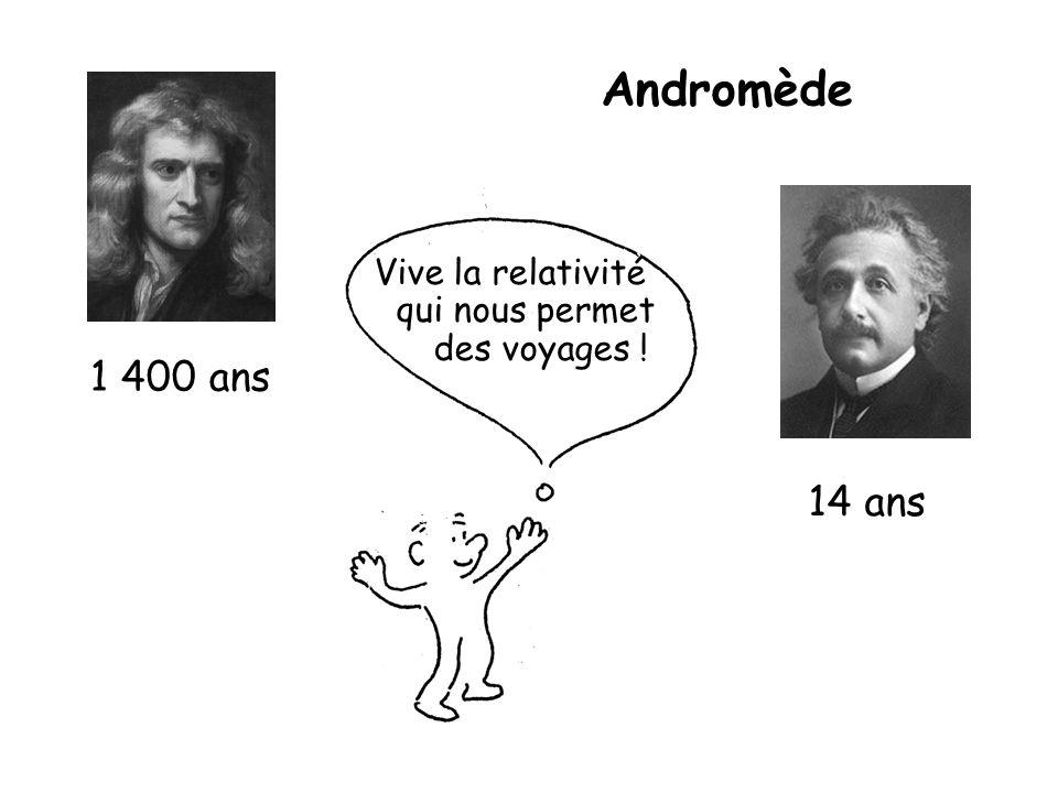 Andromède 1 400 ans 14 ans Vive la relativité qui nous permet