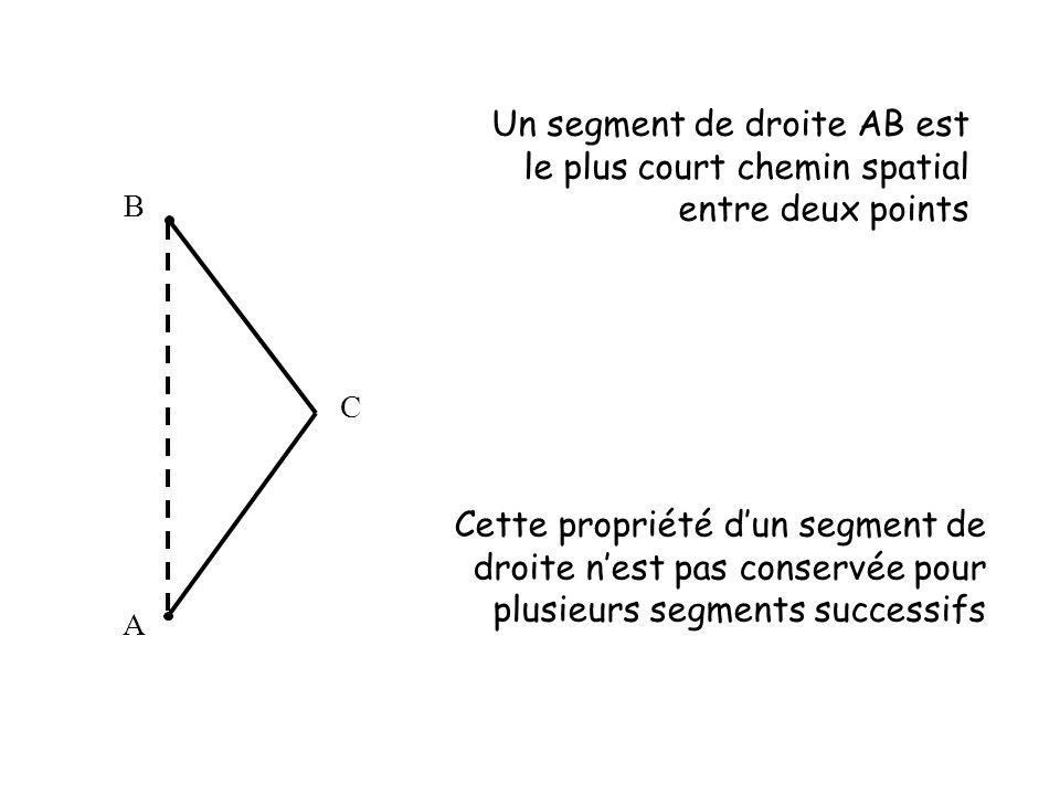 Un segment de droite AB est le plus court chemin spatial entre deux points