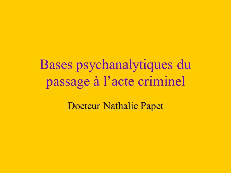 Bases psychanalytiques du passage à l'acte criminel
