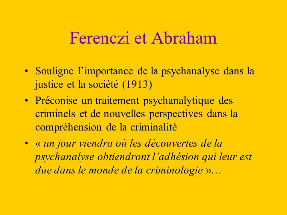 Ferenczi et Abraham Souligne l'importance de la psychanalyse dans la justice et la société (1913)